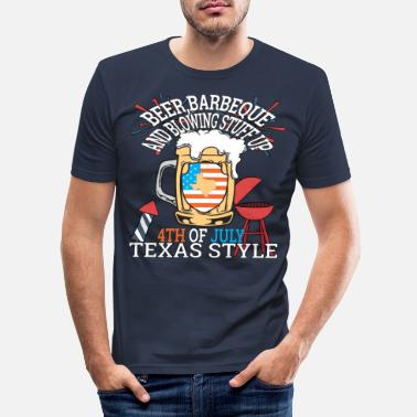 Lys Øl BBQ og Blowin Stuff op 4. juli Texas - Slim fit T-shirt mænd