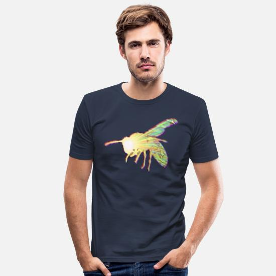 Light Bulb T-Shirts - Wasp, bee - Men's Slim Fit T-Shirt navy