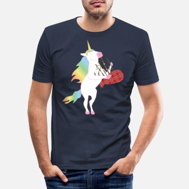 Scotland Unicorn Unicorn playing the bagpipes! - Men's Slim Fit T-Shirt