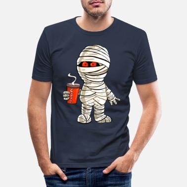 Mummy with coffee i halloween - Men's Slim Fit T-Shirt