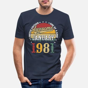 40th Birthday January 1981 born retro birthday - Men's Slim Fit T-Shirt