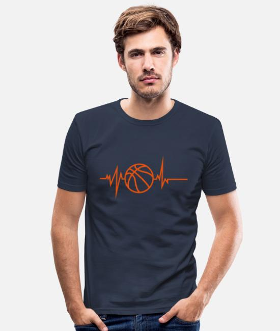 Trace T-shirts - basketball trace courbe coeur battement - T-shirt moulant Homme bleu marine