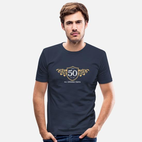 50th Birthday T-Shirts - 50th birthday - Men's Slim Fit T-Shirt navy