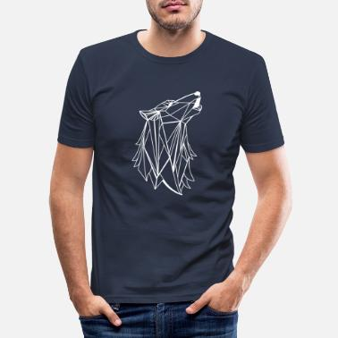 Rectangle Loup géométrique - T-shirt moulant Homme