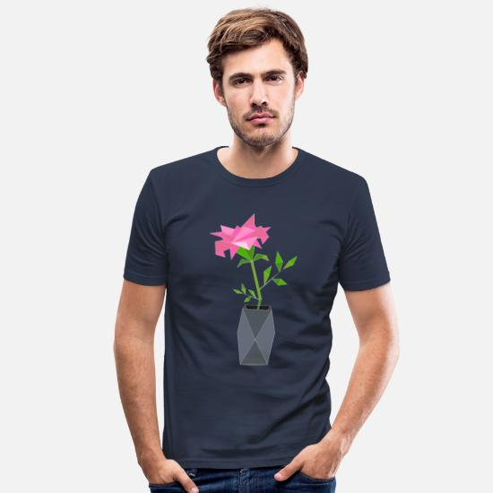 Origami T-Shirts - Origami Rose Flower Fragrance Pink Vase Plant Pink - Men's Slim Fit T-Shirt navy