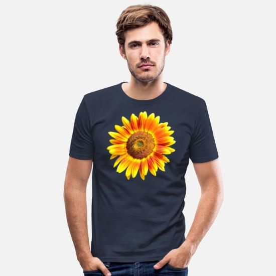 Sol T-shirts - solsikke - Slim fit T-shirt mænd marineblå