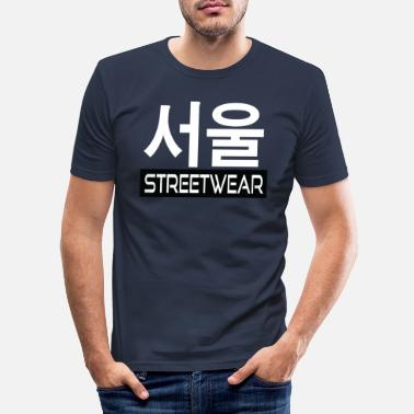 Sprache Korea Streetwear - Urban Design - Männer Slim Fit T-Shirt