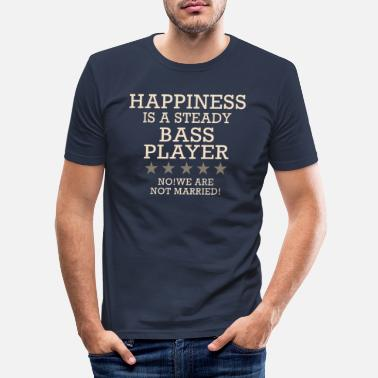 Bass Player Happiness is a steady bass player - saying - Men's Slim Fit T-Shirt
