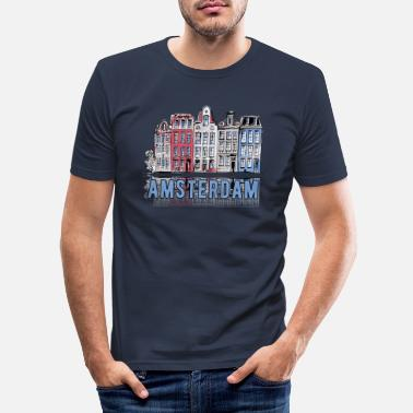 I Love Amsterdam Amsterdam Skyline - Blue - Men's Slim Fit T-Shirt