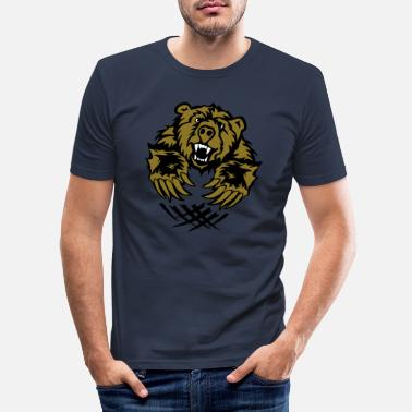 Offensief teddybeer klauwen tragen offensief logo - Mannen slim fit T-shirt