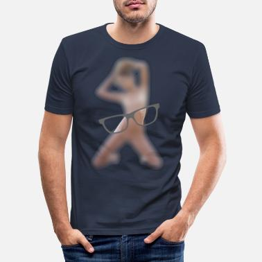Naked Woman Woman naked in front of glasses - Men's Slim Fit T-Shirt