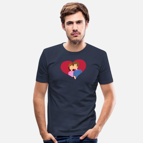 Couples T-Shirts - Love heart couple Couple kiss - Men's Slim Fit T-Shirt navy