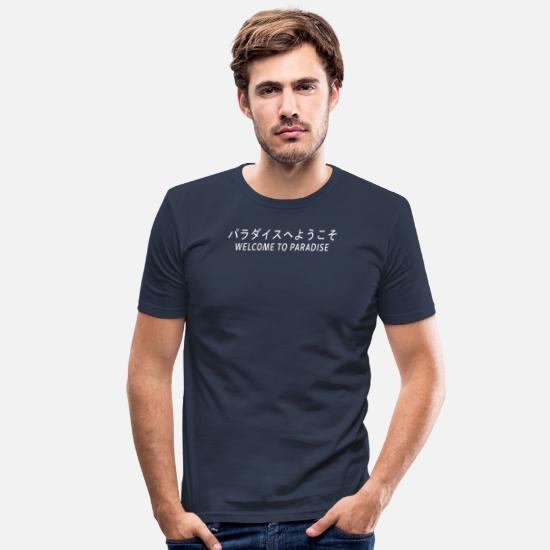 Aesthetic T-Shirts - aporwave print Japanese Streetwear Welcome to - Men's Slim Fit T-Shirt navy