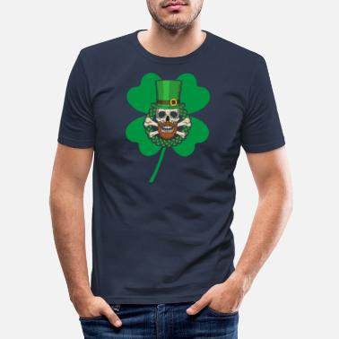 Celtic Patrick's Day Skull Green - Men's Slim Fit T-Shirt
