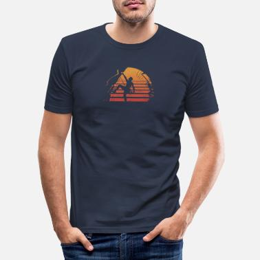 Skirt Distressed Retro Rock Climbing Sunset Tee Shirt - Men's Slim Fit T-Shirt
