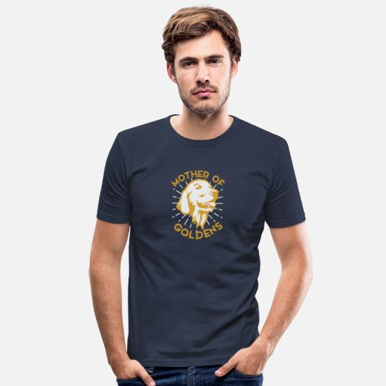 Fan T-shirts - Chiens de la mère de Golden Retriever - T-shirt moulant Homme bleu marine