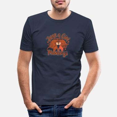 Chimpanzee Monkey girl animal - Men's Slim Fit T-Shirt