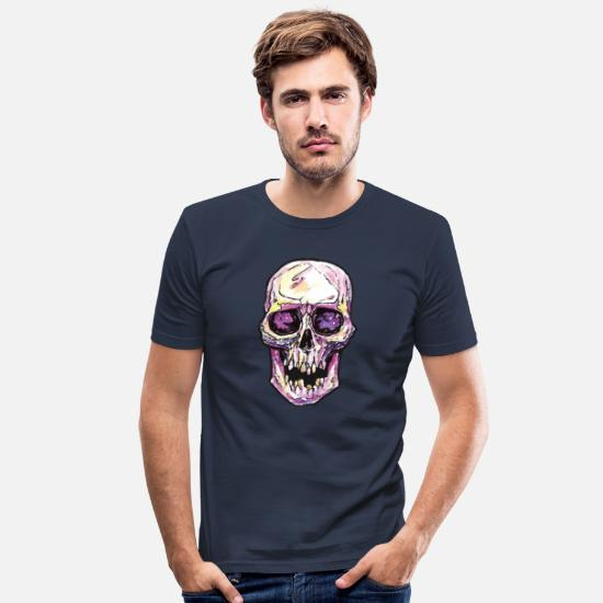 Floral T-Shirts - Watercolor Skull Cranium - Men's Slim Fit T-Shirt navy