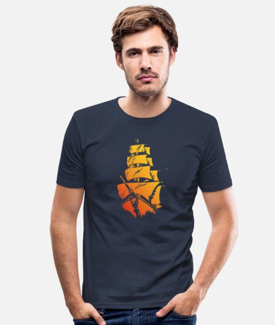 Red T-Shirts - Pirate ship red yellow - Men's Slim Fit T-Shirt navy