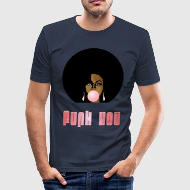 Funk You 70's Retro Bubblegum Afro Queen - Men's Slim Fit T-Shirt