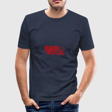 WEEKEND FORECAST 100& BEER rot - Männer Slim Fit T-Shirt