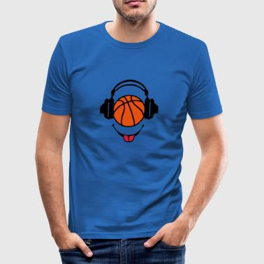 casque headphones basketball dj smiley1 - Tee shirt près du corps Homme