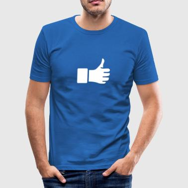 Thump Thump Up, hand, okay, finger, winner, best, I like - Men's Slim Fit T-Shirt