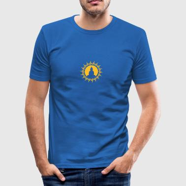 buddha, sun, love, yoga, relaxation, happiness, happy, esoteric, meditation, spiritual, tibet, free, enlightenment, goa, psy, trance, freak, hippie, healing practitioners, physiotherapy, , - Men's Slim Fit T-Shirt