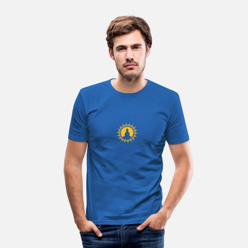 Yoga T-Shirts - buddha, sun, love, yoga, relaxation, happiness, happy, esoteric, meditation, spiritual, tibet, free, enlightenment, goa, psy, trance, freak, hippie, healing practitioners, physiotherapy, , - Men's Slim Fit T-Shirt royal blue