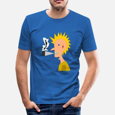 Punker Lustig Cooler Smoking Punk, Punker - Männer Slim Fit T-Shirt