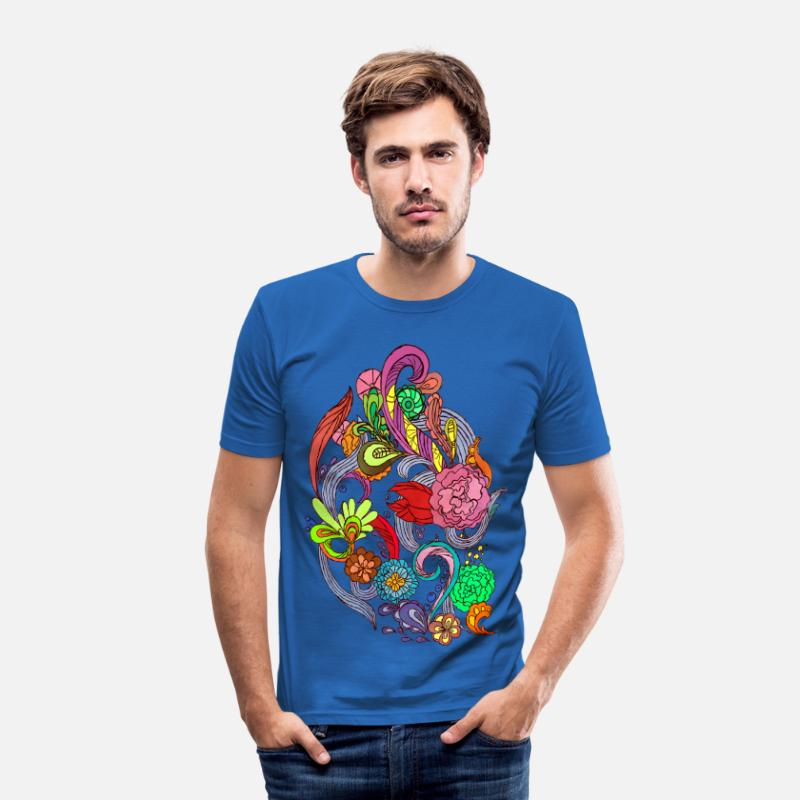 Flower Power T-shirts - Flower Power - Crispy Morning  - T-shirt slim fit herr kungsblå