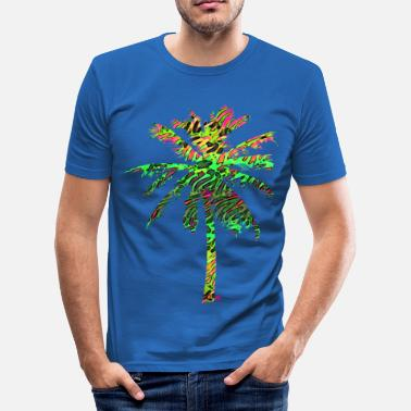 Neon neon flamingo palme - Männer Slim Fit T-Shirt