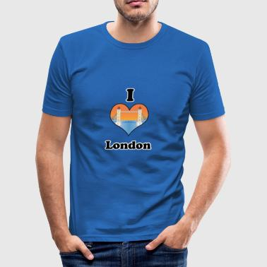 I love London-tower bridge at sundown - Tee shirt près du corps Homme