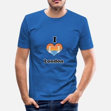 Sundown I love London-tower bridge at sundown - Slim Fit T-skjorte for menn