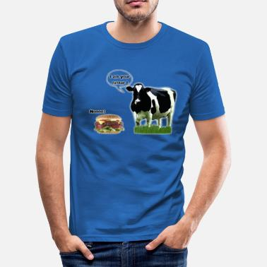 Hamburger Blagues vache_vs_hamburger - T-shirt près du corps Homme