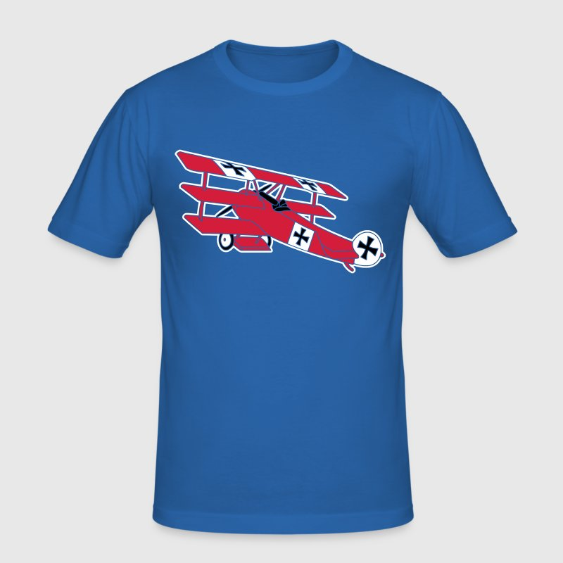 Fokker Airplane Flugzeug Roter Baron Red World War - Männer Slim Fit T-Shirt