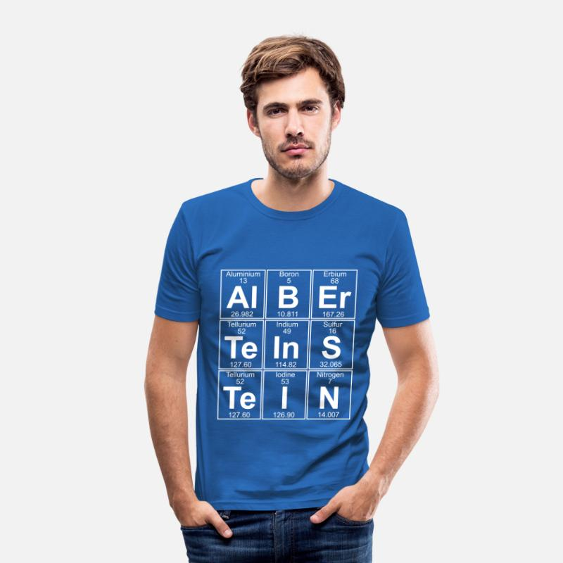 Element T-Shirts - Al-B-Er-Te-In-S-Te-I-N (Albert Einstein) - Full - Men's Slim Fit T-Shirt royal blue