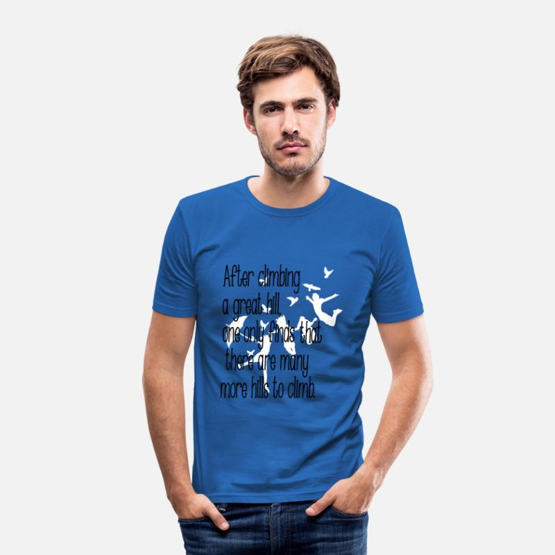 Jump T-Shirts - Life Quotes quotation - Men's Slim Fit T-Shirt royal blue