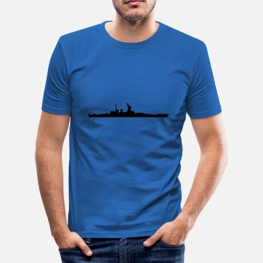 Oorlogsschip Vector Navy oorlogsschip Silhouet - slim fit T-shirt
