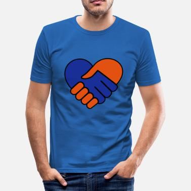 Red Hand Hand in hand heart blue red - Men's Slim Fit T-Shirt