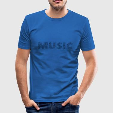 MUSIC music notes lettering musician gift idea - Men's Slim Fit T-Shirt