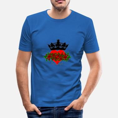 Royal Blood love is royal love crown heart gift rose - Men's Slim Fit T-Shirt