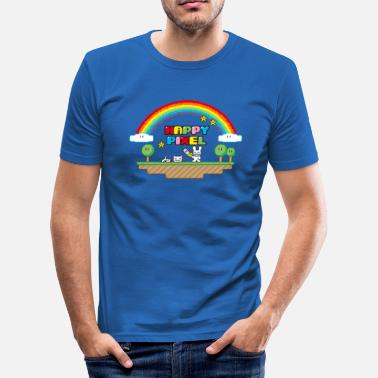 Nerd Happy Pixel (R-rated) - Männer Slim Fit T-Shirt