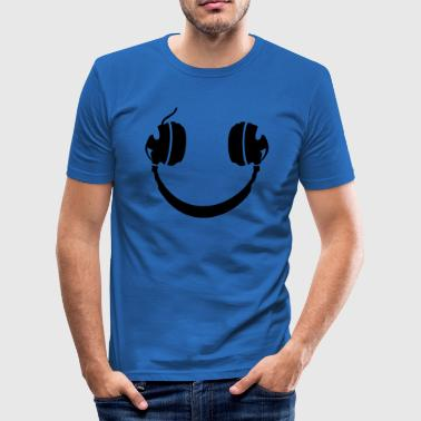 Smiley Headphone - Männer Slim Fit T-Shirt