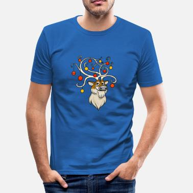 Decorations Festive Reindeer - Men's Slim Fit T-Shirt