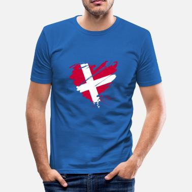 Denmark Scandinavia Europe EU Flag Heart hygge - Men's Slim Fit T-Shirt