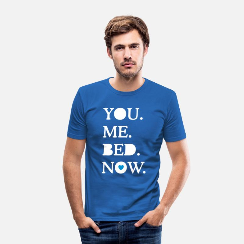 Funny T-Shirts - you. me. bed. now. - Men's Slim Fit T-Shirt royal blue