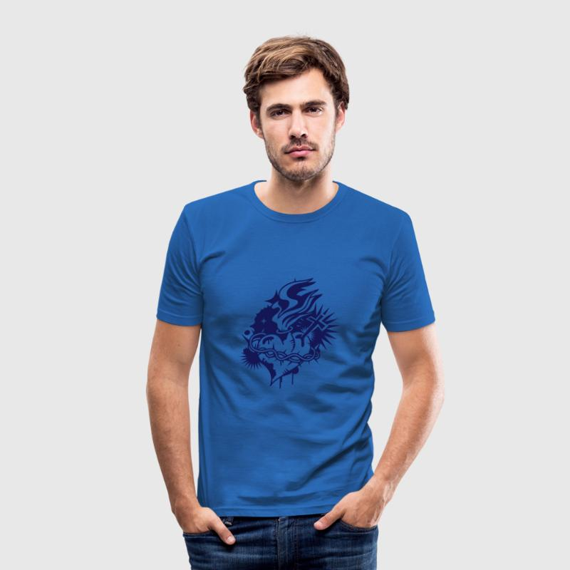 A burning heart with cross and crown of thorns - Slim Fit T-shirt herr
