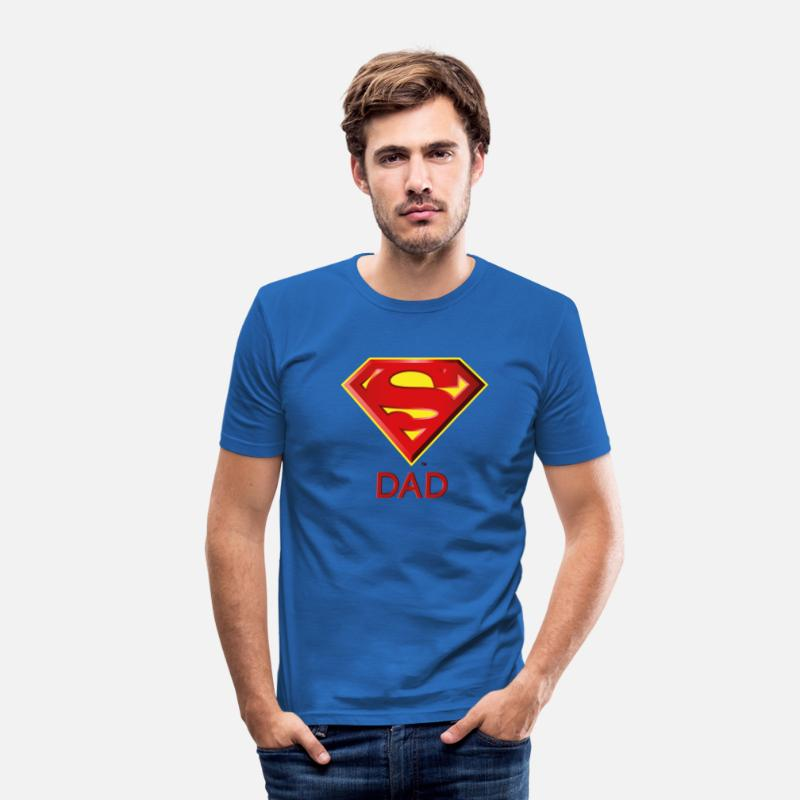 Super T-Shirts - Superman 'Super DAD' Men T-Shirt - Mannen slim fit T-shirt koningsblauw
