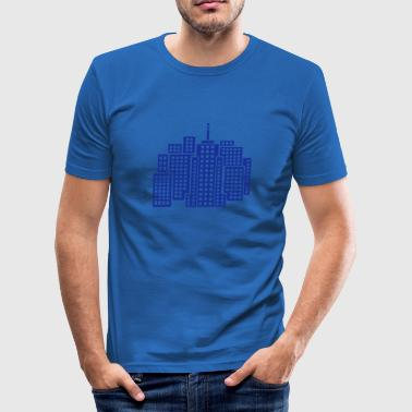 Stad Byggnader City Skyline - Slim Fit T-shirt herr